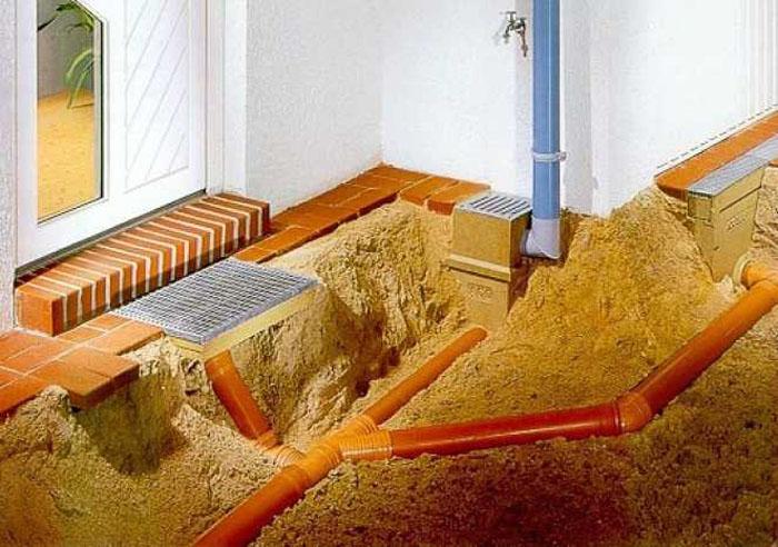При укладке труб ливневой канализации следует избегать соединений под прямым углом