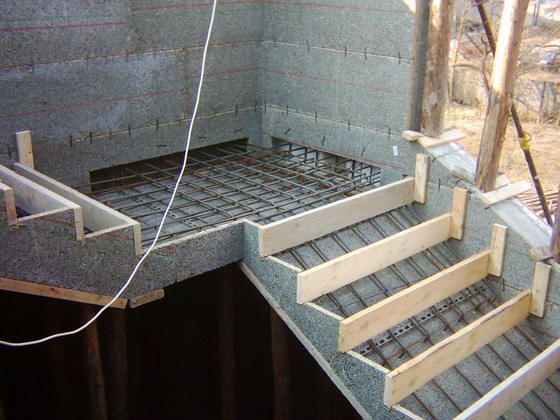 Бетонирование площадки одновременно с бетонированием стен по технологи термодом