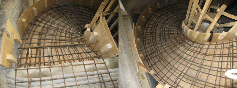 Арматурный каркас монолитной спиральной лестницы