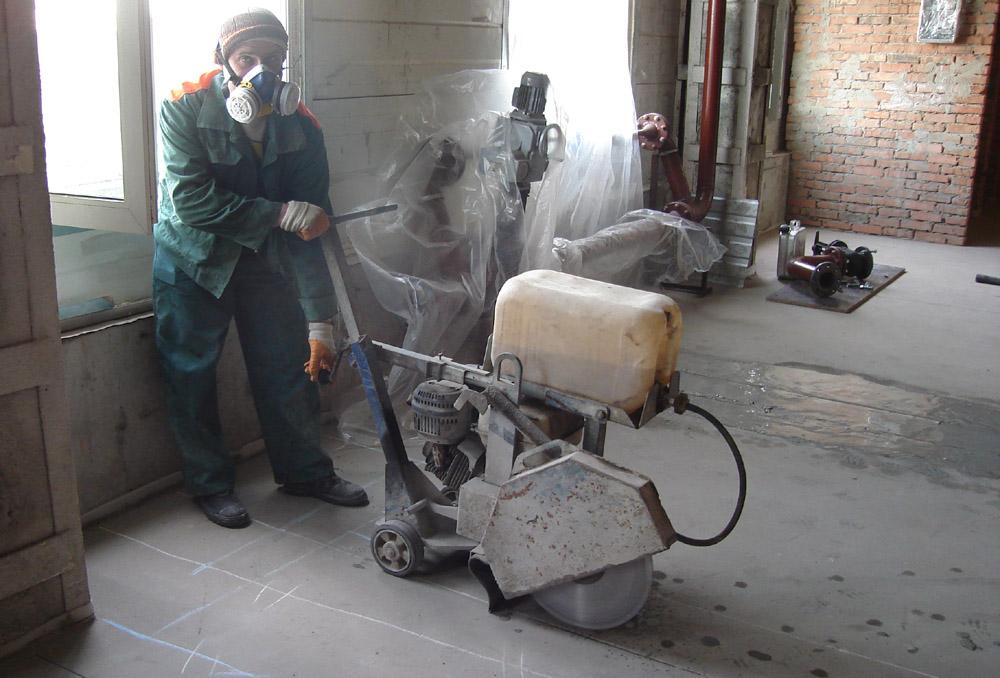 Подготовка к алмазной резке бетонного перекрытия