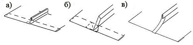 Формы стоячего фальца у карниза а) с квадратными кромками; б) с квадратными кромками; в) со скошенными кромками