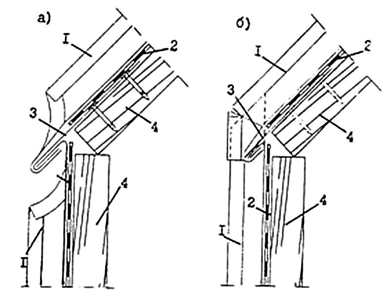 Разрывы в стоячих фальцах (а) и непрерывные фальцы (б) 1- стоячий фальц со скошенными кромками; 2 - подстилающий слой; 3 - карнизный свес; 4 - основание под кровлю
