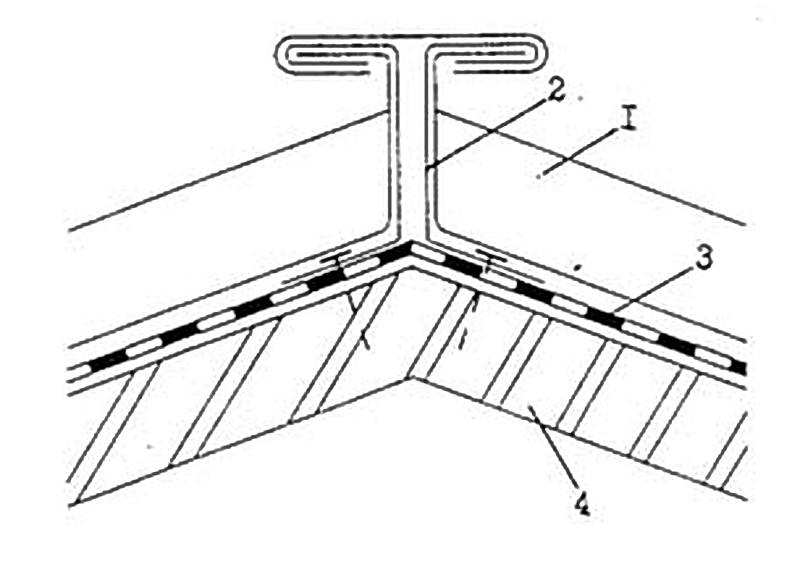 Тавровый фальцевый конек 1 - стоячий фальц; 2 - медный кронштейн; 3 - подстилающий слой; 4 - основание под кровлю;5 - секции конька