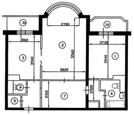 Двухкомнатная квартира до перепланировки (тип дома И-155)